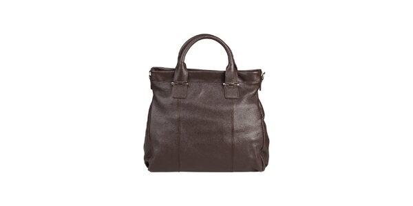 Dámska tmavo hnedá kožená kabelka s popruhom Made in Italia