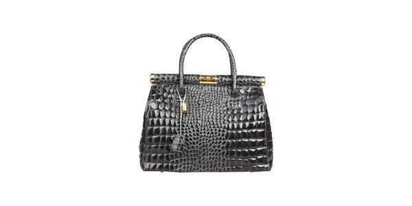 Dámska lakovaná šedá kabelka s krokodílim vzorom Made in Italia