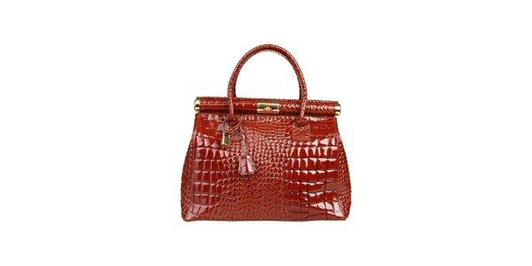 Dámska lakovaná gaštanová kabelka s krokodílim vzorom Made in Italia