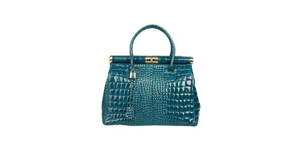 Dámska lakovaná zeleno-modrá kabelka s krokodílim vzorom Made in Italia