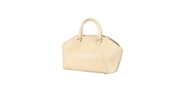 Dámska béžová kožená kabelka Made in Italia
