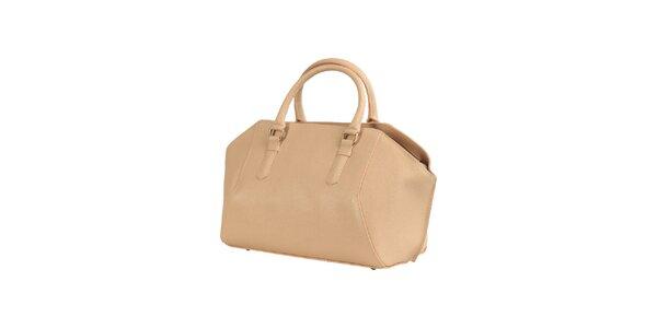 Dámska svetlo hnedá kožená kabelka Made in Italia