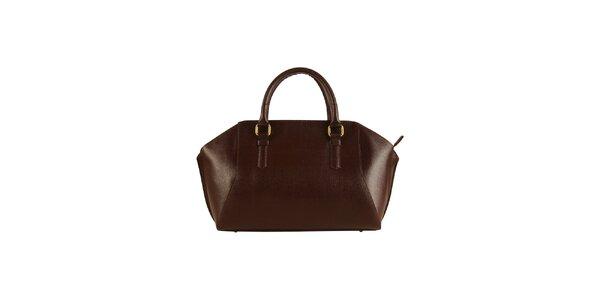 Dámska tmavo hnedá kožená kabelka Made in Italia