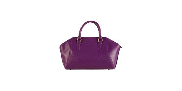 Dámska fialová kožená kabelka Made in Italia