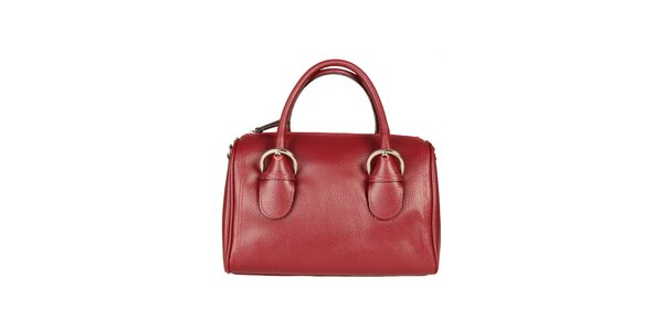 Dámska červená kabelka s prackami Made in Italia