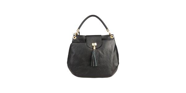 Dámska čierna kabelka s jedným uchom Made in Italia