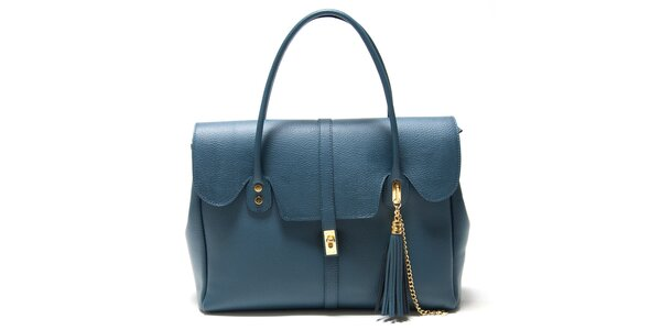 Dámska modrá kabelka s ozdobným strapcom Isabella Rhea
