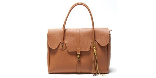 Dámska koňakovo hnedá kabelka s ozdobným strapcom Isabella Rhea