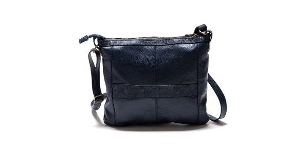 Dámska modrá kabelka cez rameno so zlatými komponentmi Isabella Rhea