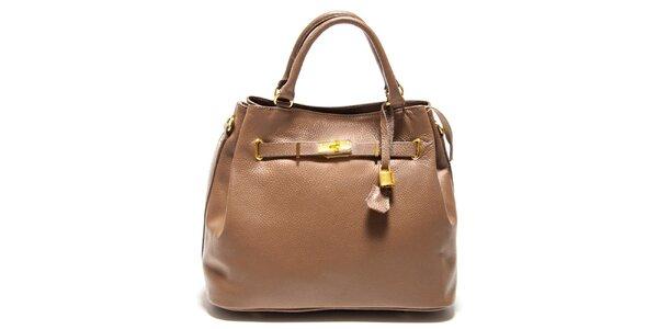 Dámska svetlo hnedá kabelka so zámočkom Isabella Rhea
