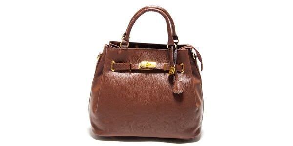Dámska tmavo hnedá kabelka so zámočkom Isabella Rhea