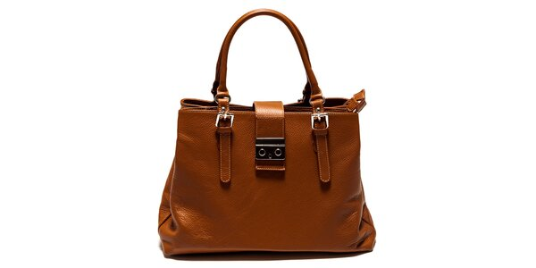 Dámska koňakovo hnedá kabelka so zámočkom Isabella Rhea