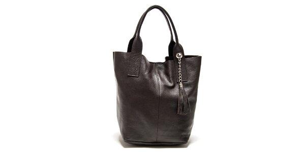 Dámska tmavo hnedá kabelka so strapcami Isabella Rhea