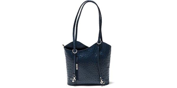 Dámska modrá kabelka s imitáciou pštrosej kože Isabella Rhea