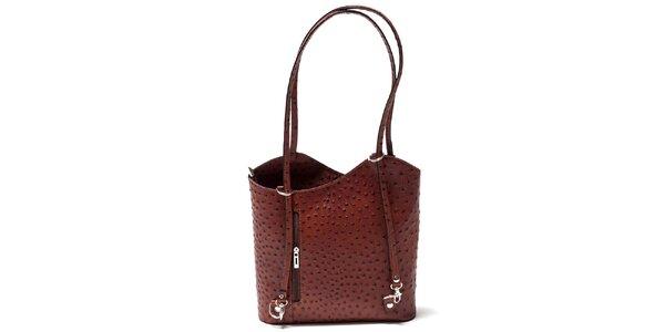 Dámska koňakovo hnedá kabelka s imitáciou pštrosej kože Isabella Rhea