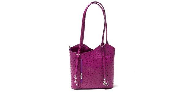 Dámska fuchsiová kabelka s imitáciou pštrosej kože Isabella Rhea