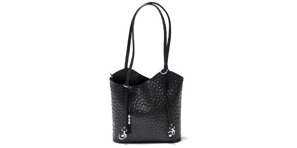 Dámska čierna kabelka s imitáciou pštrosej kože Isabella Rhea