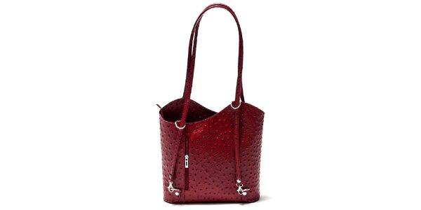 Dámska malinová kabelka s imitáciou pštrosej kože Isabella Rhea