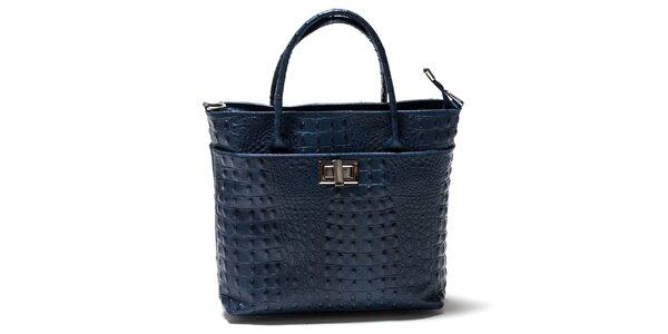 Dámska modrá štvorcová kabelka s hadím vzorom Isabella Rhea