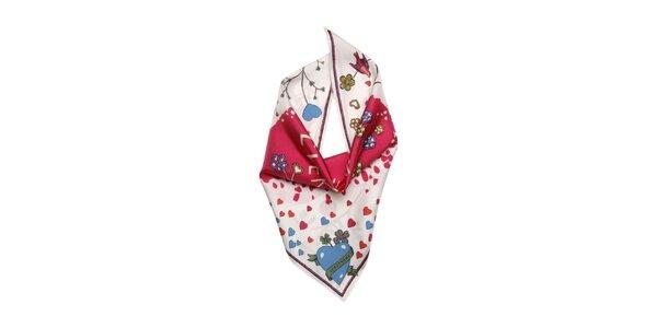 Dámska farebná šatka so srdcom Longchamp