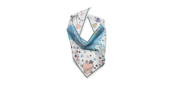 Dámska farebná šatka s modrým srdcom Longchamp
