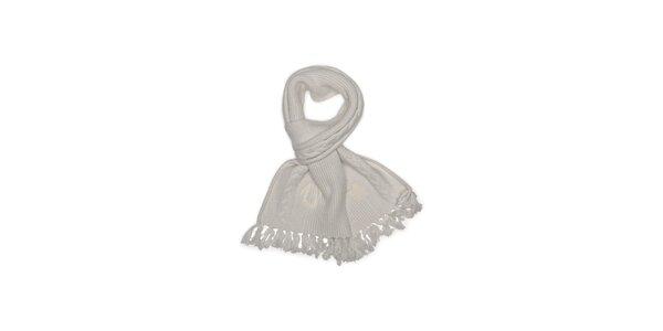 Dámsky smotanový pletený šál so strapcami True Religion