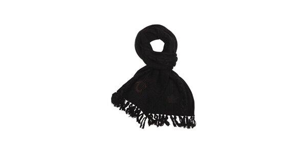 Dámsky čierny pletený šál so strapcami True Religion