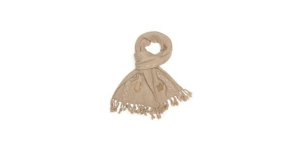 Dámsky béžový pletený šál so strapcami True Religion