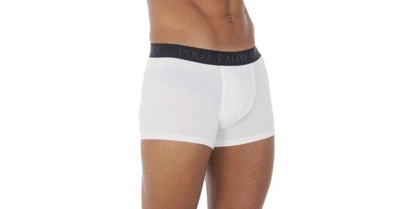 Biele boxerky Ralph Lauren s čiernym pásom