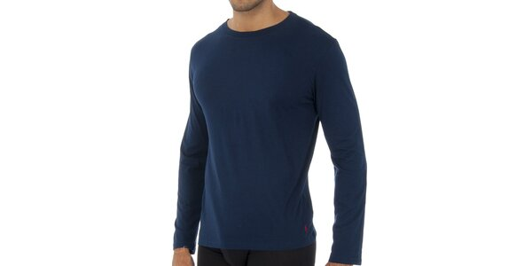 Tmavo modré tričko Raplh Lauren s dlhým rukávom
