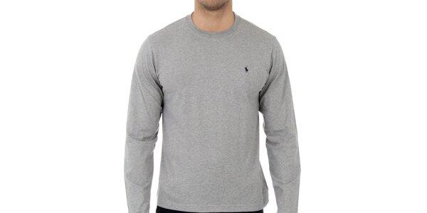 Pánske svetlo šedé melírované tričko Ralph Lauren