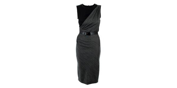 Dámske šedo-čierne šaty s opaskom Max Mara