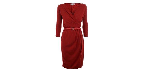 Dámske červené šaty s opaskom Max Mara