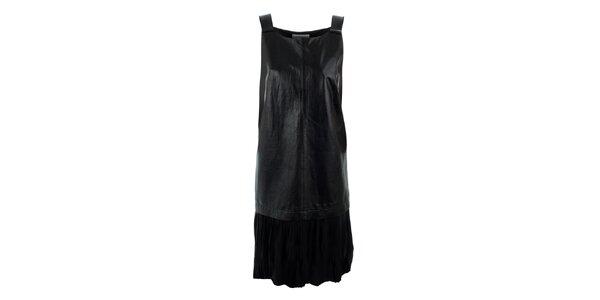 Dámske čierne šaty s koženým predným dielom Max Mara