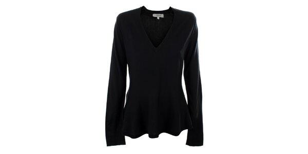 Dámsky čierny hodvábny sveter s výstrihom do V Max Mara