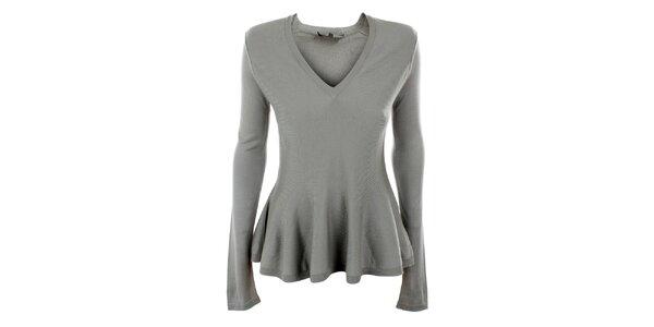 Dámsky šedý hodvábny sveter s výstrihom do V Max Mara