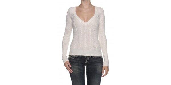 Dámsky krémovo biely sveter s vlnou Abercombie&Fitch