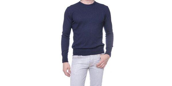 Pánsky tmavo modrý sveter s kašmírom Ballantyne