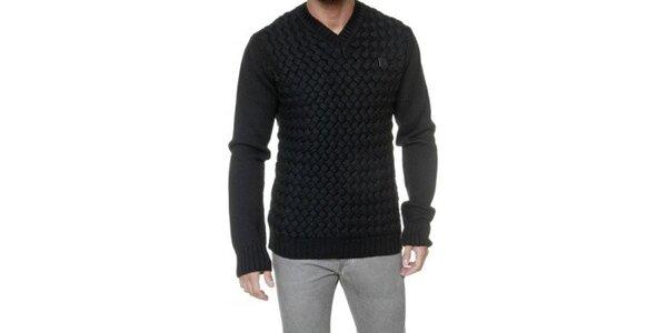 Pánsky čierny véčkový vypletaný sveter Karl Lagerfeld