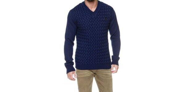Pánsky modrý véčkový vypletaný sveter Karl Lagerfeld