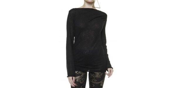 Dámsky čierny sveter so zavinovacím chrbátom Pierre Balmain