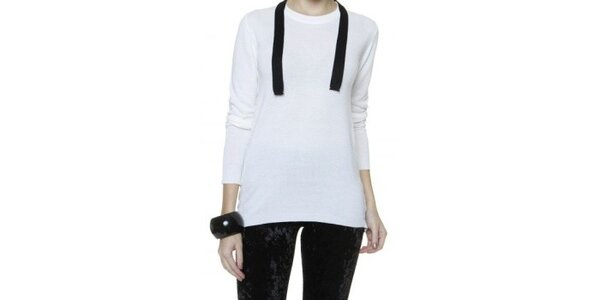 Dámsky biely sveter s čiernym lemom Pierre Balmain