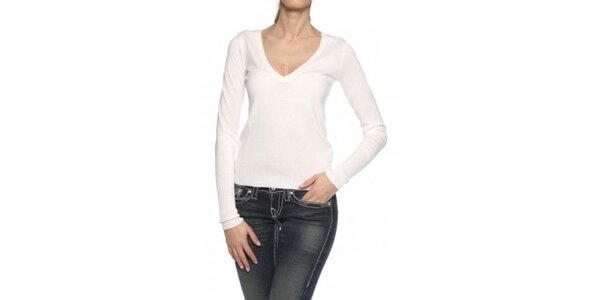Dámsky biely bavlnený pulóver Ralph Lauren