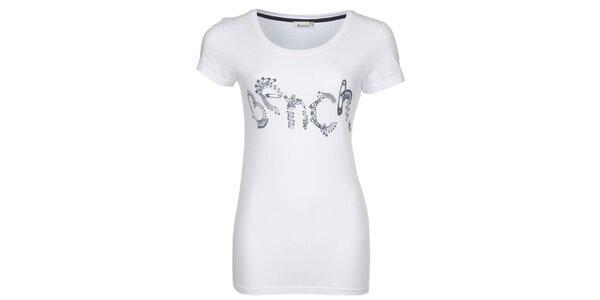Dámske biele tričko s potlačou špendlíkov Bench