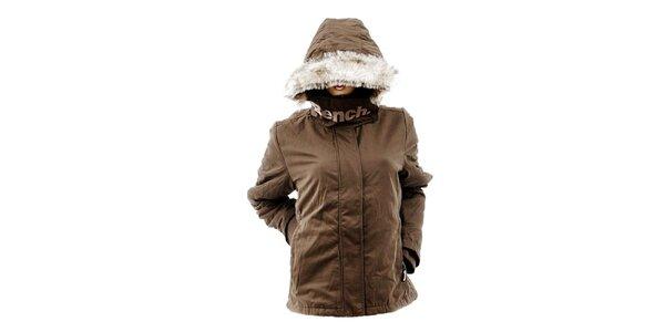 Dámska hnedá bunda s kožúškom Bench