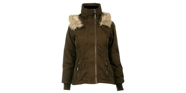 Dámska khaki bunda s kožúškom Bench