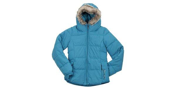 Dámska tyrkysová prešívaná bunda s kožúškom Bench