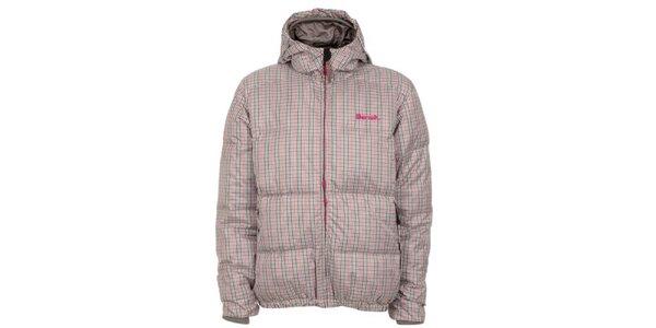 Pánska šedo-ružová kockovaná bunda s kapucňou Bench