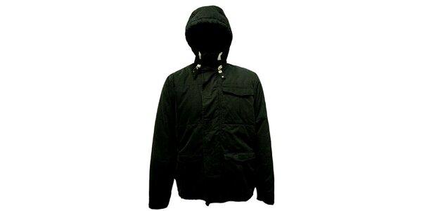 Pánska čierna bunda s kapucňou Bench