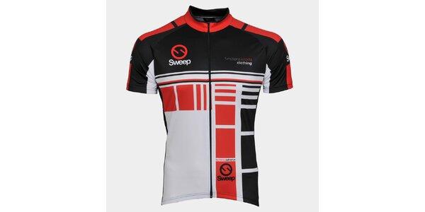 Červeno-čierny cyklistický dres Sweep